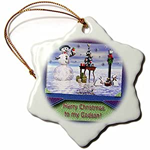 Beverly Turner Photography Snowman with Bunny Friends 3D Merry Christmas to Godson Snowflake Porcelain Ornament, 3-Inch