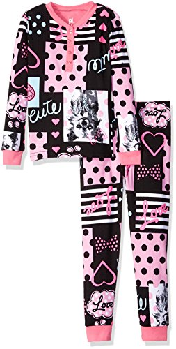 Petit Lem Big Girls' Polka Print Pajama, Dog, 6]()
