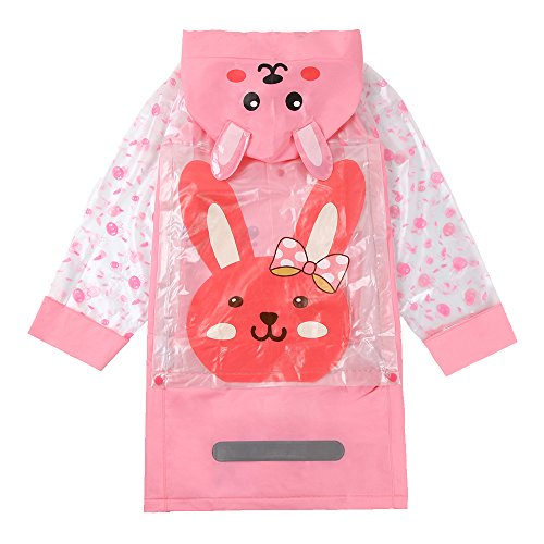 Absolutely Perfect Kids Girls Cute Reflective Backpack School Long Hooded Raincoat Pink M by Absolutely Perfect (Image #1)
