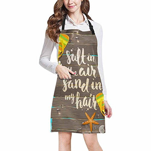 InterestPrint Tropical Summer Flowers Starfish And Flip Flops Kitchen Apron - Mens and Womens Bib Apron - Adjustable with Pockets for Cooking Baking Gardening, Large Size by InterestPrint