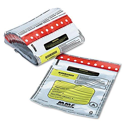 MMF Industries 2362010N06 Tamper-Evident Deposit/Cash Bags, Plastic, 9 x 12, White, 100 Bags/Box