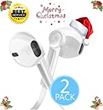 2-Pack Earphones Flat Wired 3.5mm Audio Jack In-Ear Earbuds Headphones with Microphone Fits for Apple iPhone iPod iPad Samsung Galaxy HTC and Android (White)