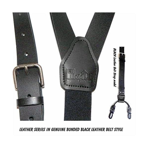 Hold-Ups-1-Black-Belt-Strap-Genuine-Bonded-Leather-Suspenders-No-slip-Clips