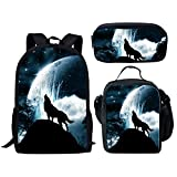 Middle School Student Backpack Lunch Bag Set Pen Bags Fashion Durable Large Book Bag Wolf Print