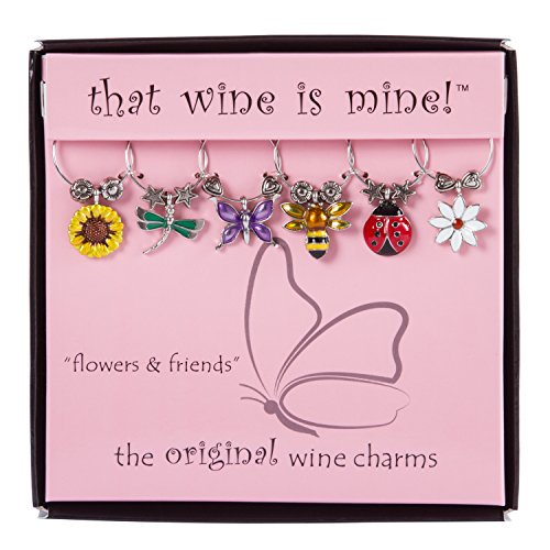(Wine Things WT-1611P Flowers & Friends, Painted Wine Charms, Fits neatly around stem, Multi-Color)