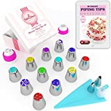 Kyпить Russian Piping Tips Set 30 pcs - 14 Icing Frosting Nozzles (2 Leaf Tips) + 12 Baking Pastry Bags + Silicone Bag + 3 Couplers - Gift Box - Cake & Deco Cupcake Decorating Supplies Kit на Amazon.com
