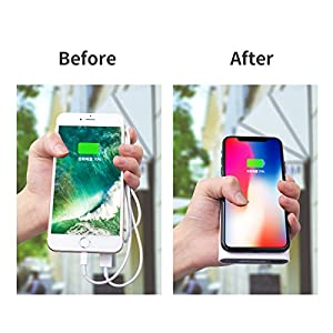 Fast Qi Wireless Charging Power bank 10000mAH by Blobfish, Portable Charger USB Type C and Micro USB Input Qi Enabled wireless charging output and Receiver input Good for Smartphone (black)