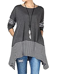 Mordenmiss Women's Stripes Asymmetry Hem Tunics Blouse with Pockets