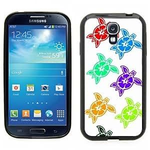 Samsung Galaxy S4 SIIII Black Rubber Silicone Case - Sea Turtle design. Hawaiian Hibiscus Turtle design