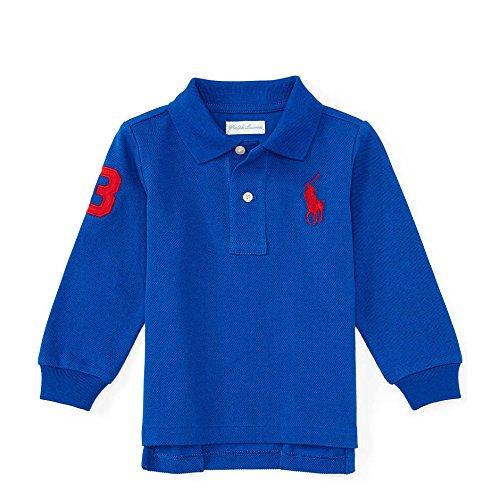 Polo Ralph Lauren Baby Boy's Big Pony Long Sleeve Mesh T-shirt, Sapphire Star (24 Months)
