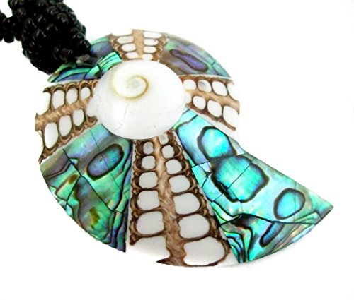 (Natural Abalone Shell, Cone Shell, Shiva Eye Pendant 20 Inches Beads Necklace Handmade Jewelry AA207)