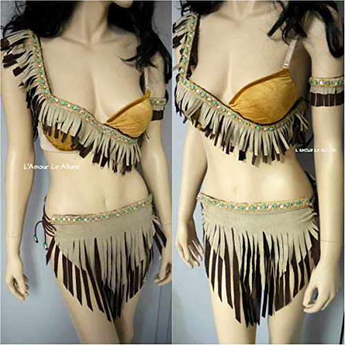 Princess Pocahontas Native Indian Bra and Skirt Rave Costume]()