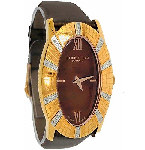 Cerruti 1881 Ladies Chronograph Watch Rose Gold Tone with Leather Strap Diamond CRWDO009S233N