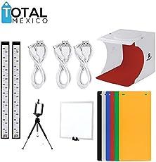 Caja de luz para fotografia Kit de Estudio fotografico portatil con Light Pad LED + Doble iluminación LED + 6 Fondos de Diferentes Colores y Gratis un tripie para Celular (2 Tiras LED + Panel LED)