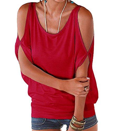 365 Scollo Tinta A Bluse Stile Manica Impero E Camicie shopping Estive Camicetta Spalle Rosso Barca Top Casual Unita Shirt Scoperte Donna Corta rqTWrZB6w