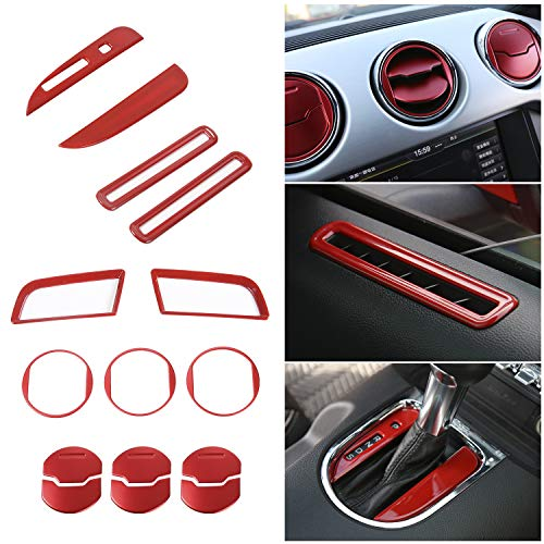 Voodonala Red Interior Accessories Decorative Trim Kits for Ford Mustang 2015 2016 2017 2018 (15 PCS)