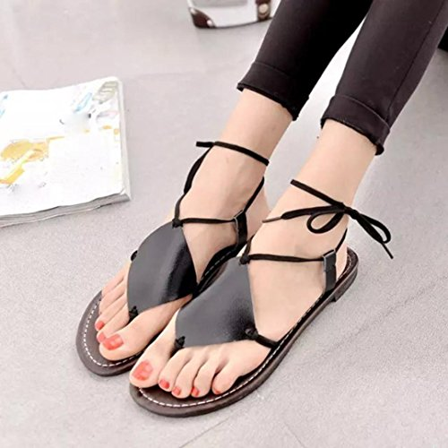 Lolittas Leather Flip Flops Slipper Gladiator Sandal Size 2-6,Summer Beach Cheap Personalised Black Toepost Strappy Thong Sancal Shoes for Ladies Size 2-6 Black