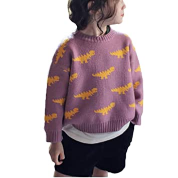 Amazon.com  Children Baby Girls Crochet Dinosaur Sweater Infant Kids Cotton  Cardigans Casual Pullover Coat Tops (12-18Months 6c1e4facc