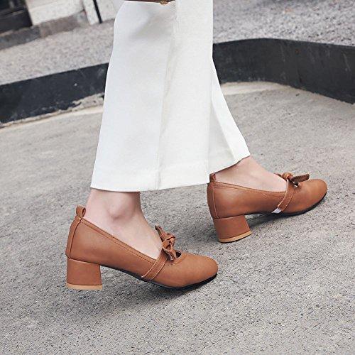 Latasa Mujeres Bow Chunky Heel Pumps Marrón