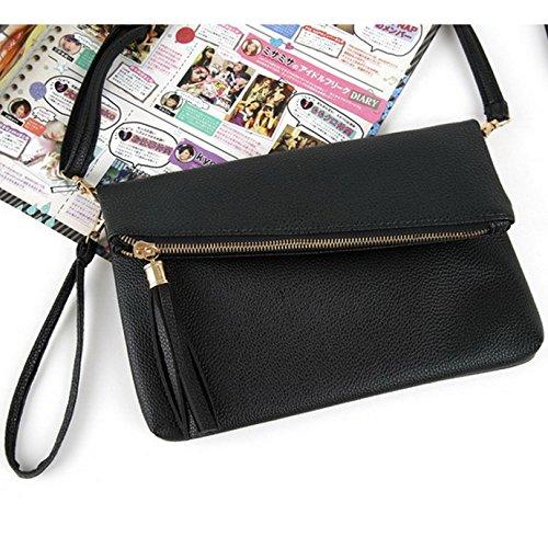 Womens Leather Fashion Clutch Handbag Bag Pu With Wristlet Foldover Tassel AiSi Black dEYwId