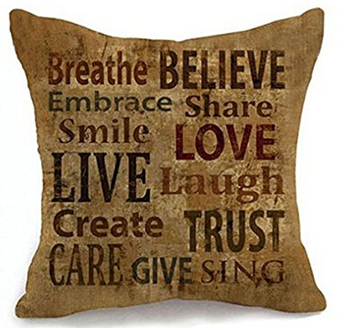 Inspirational Sayings - Love Live Laugh Cotton Linen Home Throw Pillow Case Personalized Cushion Cover NEW Home Office Decorative Square 18 X 18 Inches