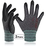Lightweight Nitrile Work Gloves FN330, 3D Comfort Stretch Fit, Durable Power Grip Foam Coated, Smart Touch, Thin Machine Washable, Black Grey X-Small 3 Pairs Pack