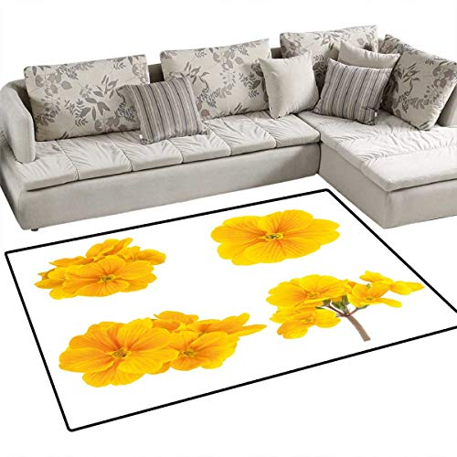 - Yellow Flower Bath Mat 3D Digital Printing Mat Gardening Themed Collection with Little Tender Primrose Primula Blossoms Door Mat Increase 48