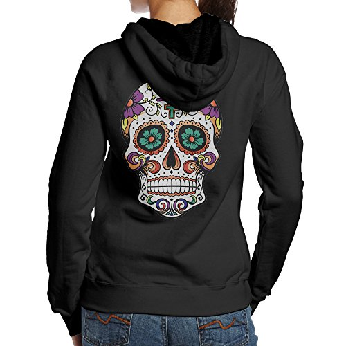 [SBPZEB Girl Skull Skeleton Sport Women's Hoodie S Black] (Bay Watch Costumes)