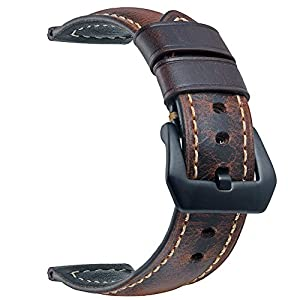 EACHE 24mm Genuine Leather Watch Band Dark Brown Oil-tanned Leather Wrist Straps with Black Buckle