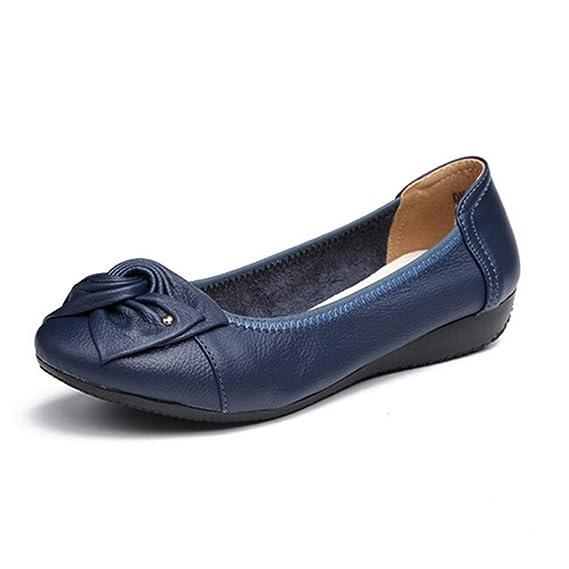 Minetom Verano Mocasines Mujer Cómodo Piso Zapatos de Conducción con Bowknot Casual Planas Cuero Loafers Zapatillas: Amazon.es: Ropa y accesorios