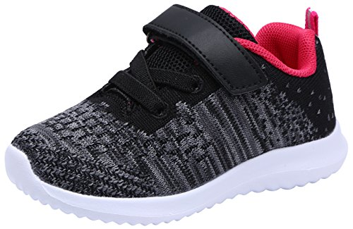COODO CD3010 Toddler/Little Kid Girls Shoes Lightweight Running Sports Sneakers (Eva Black Shoes)