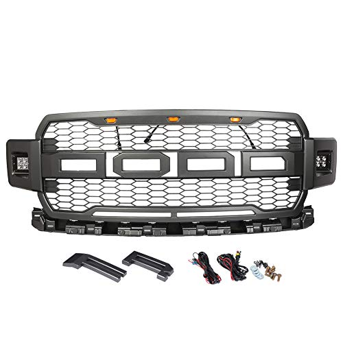Timmart Replacement For Ford F150 2018 Front Bumper Grille Honeycomb Raptor Style Upper Grill With 3 Amber Accent Lights 2 Side Led Light And Logo Letter