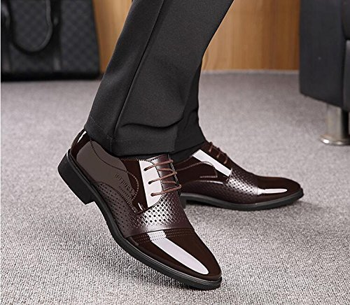 NBWE Hommes Chaussures Printemps Eté Nouveau Creux Respirant Hommes d'affaires Formelle Usure Chaussures en Cuir Britannique À Lacets Bas Chaussures Brown NSohmOGXx