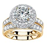 Solid 10K Yellow Gold Round Cubic Zirconia Double Halo Wedding Ring Set