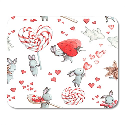 Nakamela Mouse Pads Birthday Red Animal Cute Bunny with Rabb