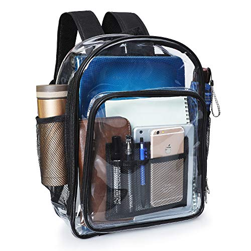 Clear Backpack, MFTEK Transparent PVC Backpacks, Heavy Duty See Through School Security Backpack for Students, Kids, Adults