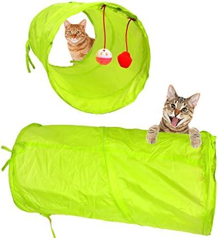 Youngever 24 Juguetes para Gatos Surtidos, túnel de 2 vías, Pluma de Gato, Juguete Interactivo de Plumas, Mouse, Bolas Arrugadas para Gato, Cachorro, Gatito, Gatito 3