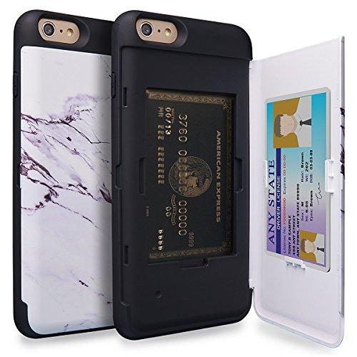 TORU CX PRO iPhone 6S Plus Wallet Case Pattern with Hidden ID Slot Credit Card Holder Hard Cover & Mirror for iPhone 6S Plus/iPhone 6 Plus - Marble Stone