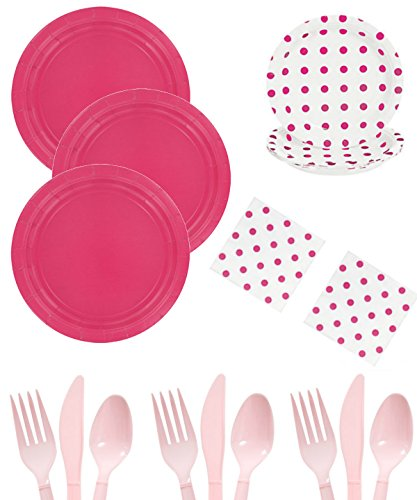 Pink Polka Dot Party Supplies For 16 - Pink Dots Plates, Dessert Plates, Napkins, Utensils - For Valentine's Day, Baby Shower, Birthday, Office Party, School, Home - Boys, Girls, Kids, Adults Bundle