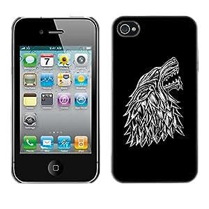 Wolf Crest - Metal de aluminio y de plástico duro Caja del teléfono - Negro Apple iPhone 4 / iPhone 4S / 4S