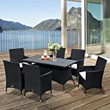 Outsunny 7PC Rattan Dining Furniture 6 Seater Wicker Table Chair Set for Conservatory Garden Backyard Patio Black