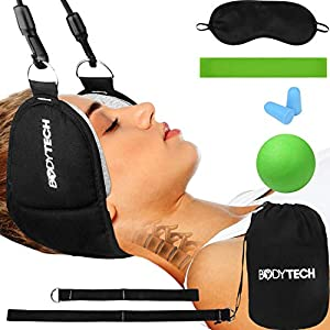 Bodytech Neck Head Hammock Kit for Back & Neck Pain Relief | Neck Stretcher & Cervical Neck Traction Device | Spine Decompression Neck Pillow for Physical Therapy