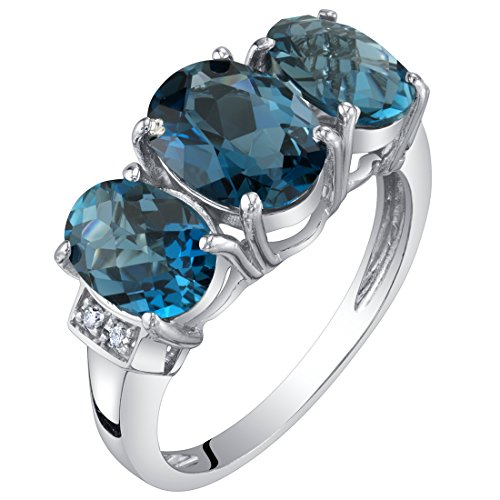 14K White Gold Genuine London Blue Topaz and Diamond Three Stone Triune Ring 2.75 Carats Size 5