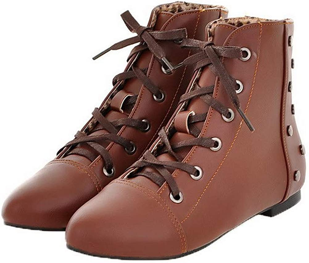 AMGXW091063 WeenFashion Womens Low-Heels Solid Round-Toe Pu Lace-Up Boots