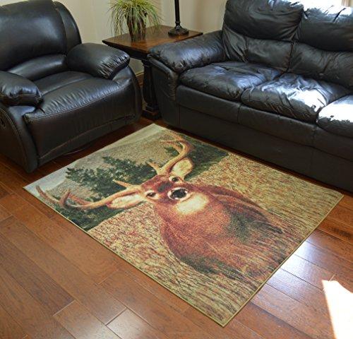 Merinos WC9468 4X5 Wild CTRY Monster Buck Area Rug 4x6 Multicolor