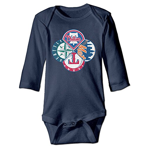 Custom Costumes Los Angeles (Boxer98 Babys Baseball Team Logo Long Sleeve Jumpsuit Outfits)