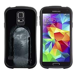 "Hypernova Slim Fit Dual Barniz Protector Caso Case Funda Para Samsung Galaxy S5 [Noche Lluvia Gris Puerta Naturaleza""]"