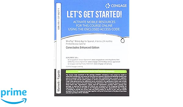 Amazon MindTap Mobile App Printed Access Card For Spanish Conectados Enhanced 9781337562171 Patti J Marinelli Karin Fajardo Books
