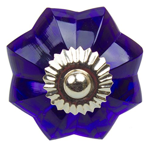 Colored Glass Knobs - GlideRite Hardware 110167-B-10 1.75 inch Blue Colored Glass Flower Cabinet Knobs 10 Pack