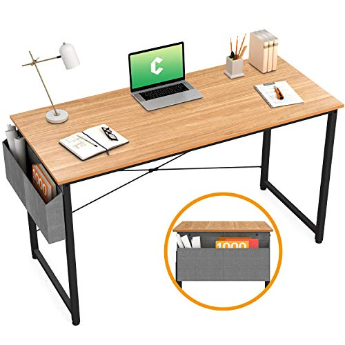 """Cubiker Writing Computer Desk 39"""" Home Office Study Desk, Modern Simple Style Laptop Table with Storage Bag, Natural"""